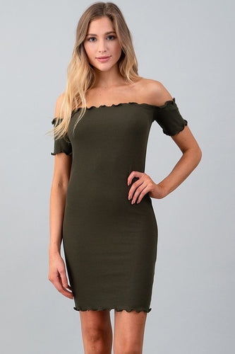 Off Shoulder Mini Rib Dress