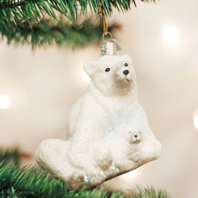 POLAR BEAR WITH CUB ORNAMENT