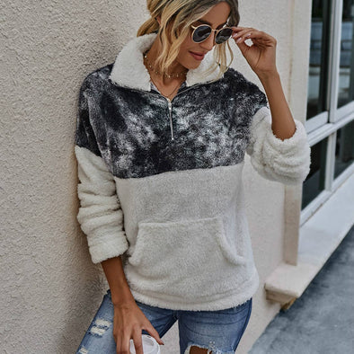 TIE DYE SHERPA PULLOVER SWEATER-BLACK & WHITE