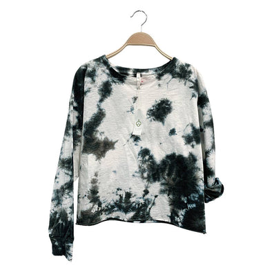 COTTON TIE DYE PULLOVER LONG SLEEVE-BLACK & GREY