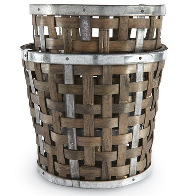 WOVEN WOOD HEARTH PAIL SET