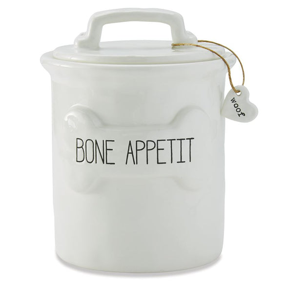 BONE APPETIT CERAMIC DOG TREAT CANISTER