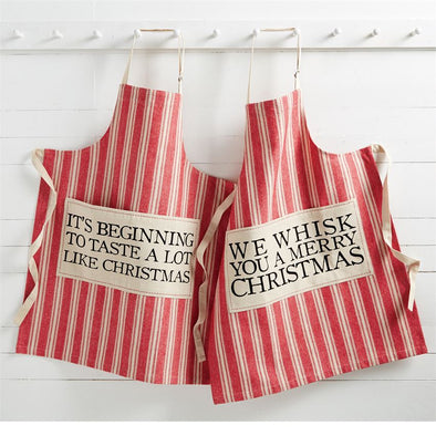 RED GRAINSACK APRONS