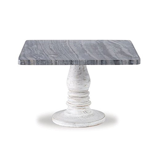 WHITE-WASH WOOD MARBLE PEDESTAL