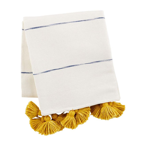 COLORED TASSEL STRIPED THROW