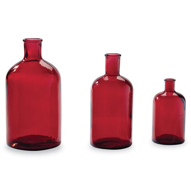 RED BOTTLENECK VASES