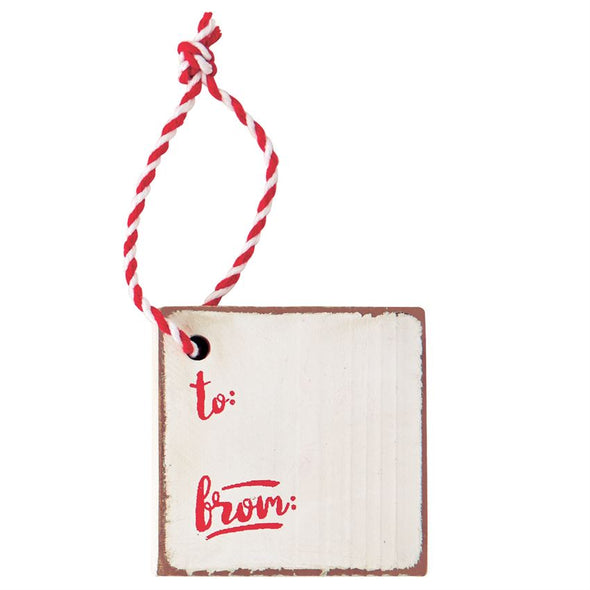 HOLIDAY WOOD INITIAL TAGS