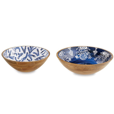 INDIGO WOOD ENAMEL BOWL