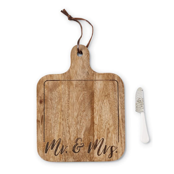 MR. & MRS. ENGRAVED WOOD PADDLE BOARD SET