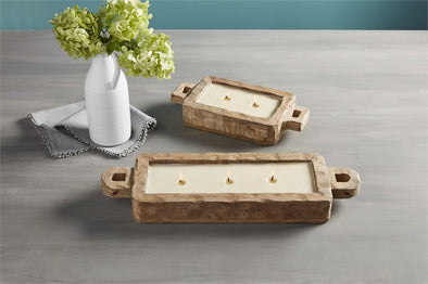 MANGO WOOD TRAY CANDLE-TWO WICK