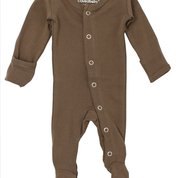 ORGANIC FOOTED OVERALL IN BROWN