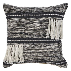 GRADIENT STRIPED FRINGE BLACK NATURAL THROW PILLOW