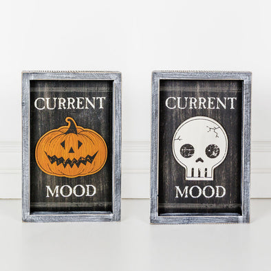 DOUBLE SIDED WOOD FRAMED SIGN - HALLOWEEN MOOD