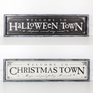 DOUBLE SIDED WOOD FRAMED SIGN - HALLOWEEN/CHRISTMAS TOWN