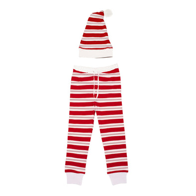ORGANIC MEN'S HOLIDAY JOGGER & CAP SET - PEPPERMINT STRIPE