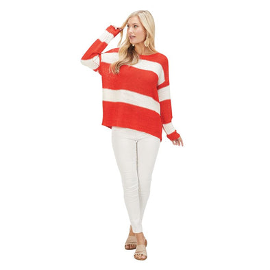 POPPY RED TOMMY STRIPED PULLOVER