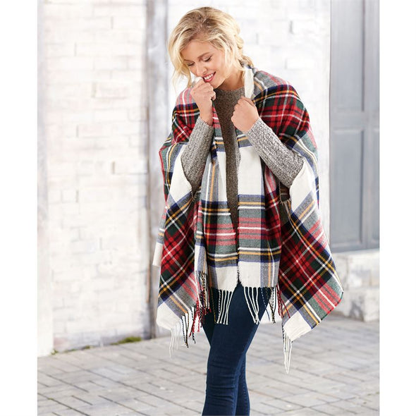 SCARF WRAP - WHITE, RED, NAVY