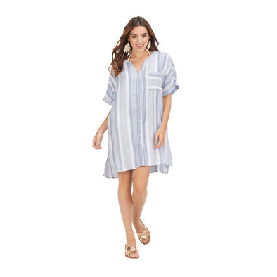 BLUE TANNER STRIPED COVER UP