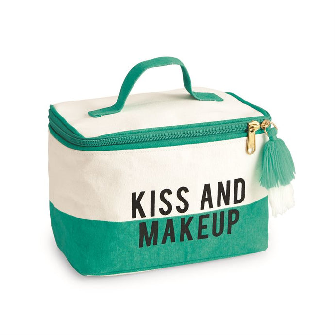 KISS AND MAKEUP COLOR-BLOCK CANVAS TRAIN CASE