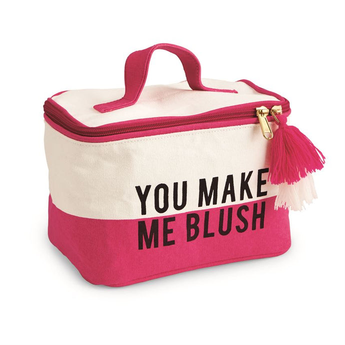 YOU MAKE ME BLUSH COLOR-BLOCK CANVAS TRAIN CASE