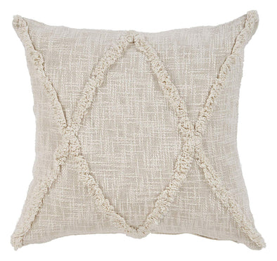 "CARLTON KHAKI DIAMONDS INDOOR THROW PILLOW 20"" X 20"" NATURAL"