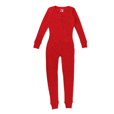 ORGANIC THERMAL WOMEN'S ONESIE - CHERRY