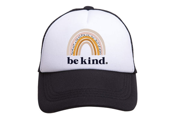 BE KIND RAINBOW BLACK TRUCKER HAT