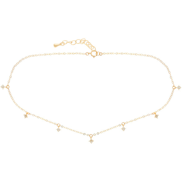 DIAMOND DANGLE CHOKER GOLD