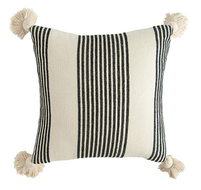 COTTON AND CHENILLE STRIPED PILLOW