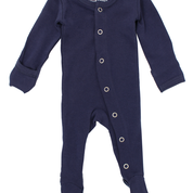 ORGANIC FOOTED OVERALL IN NAVY