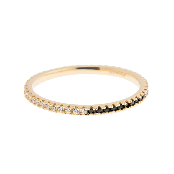HALF EBONY HALF CLEAR STACK RING GOLD