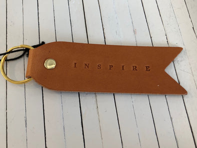 INSPIRE FLAT LEATHER KEYCHAIN