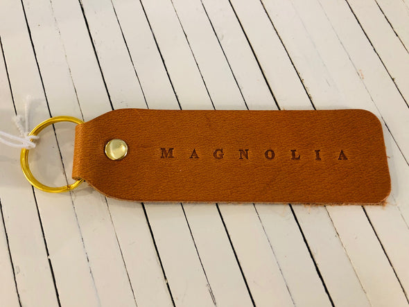 'MAGNOLIA' FLAT LEATHER KEYCHAIN