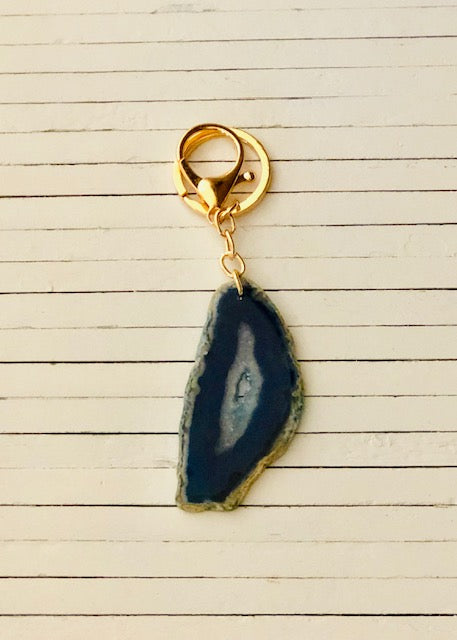 PEWTER NATURAL AGATE SLICE KEYCHAIN