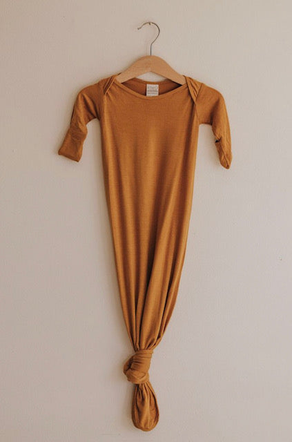 KNOTTED SLEEP GOWN - HONEY MUSTARD