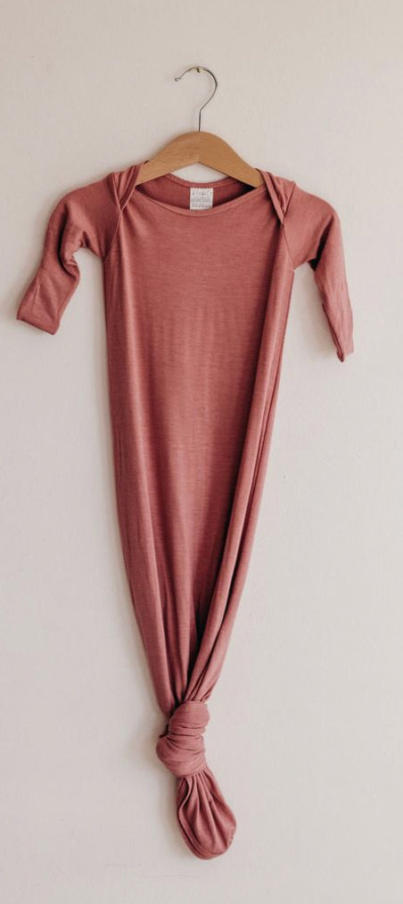 KNOTTED SLEEP GOWN - DUSTY ROSE
