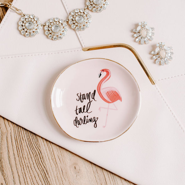 FLAMINGO STAND TALL DARLING JEWELRY DISH
