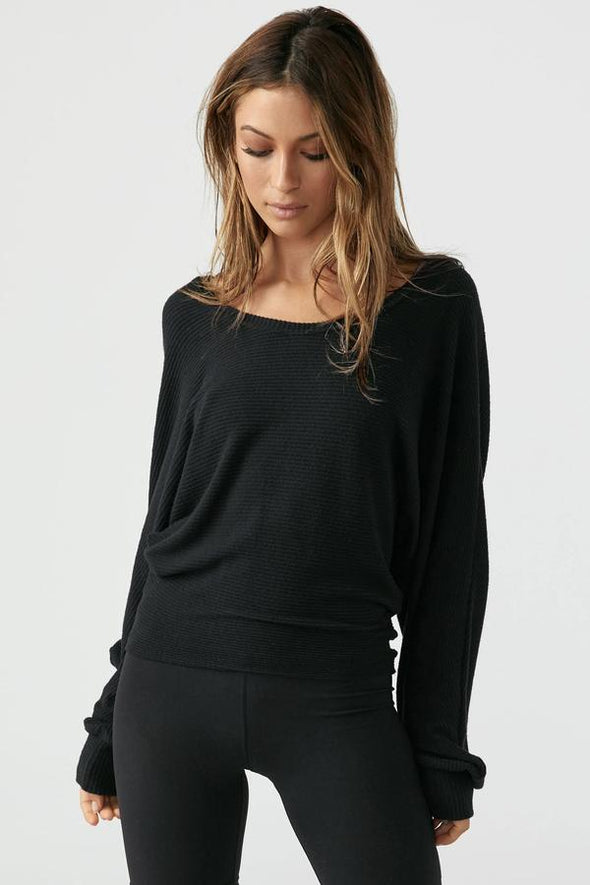 SLOUCHY DOLMAN SLEEVE-BLACK RIB SWEATER KNIT