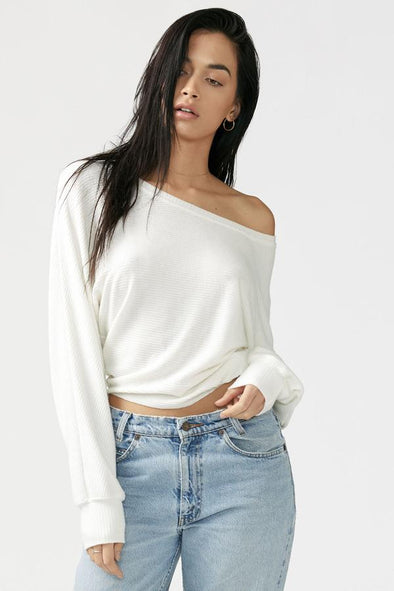 SLOUCHY DOLMAN LONG SLEEVE - IVORY