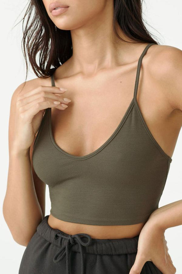 STRAPPY CROP TANK-ARMY