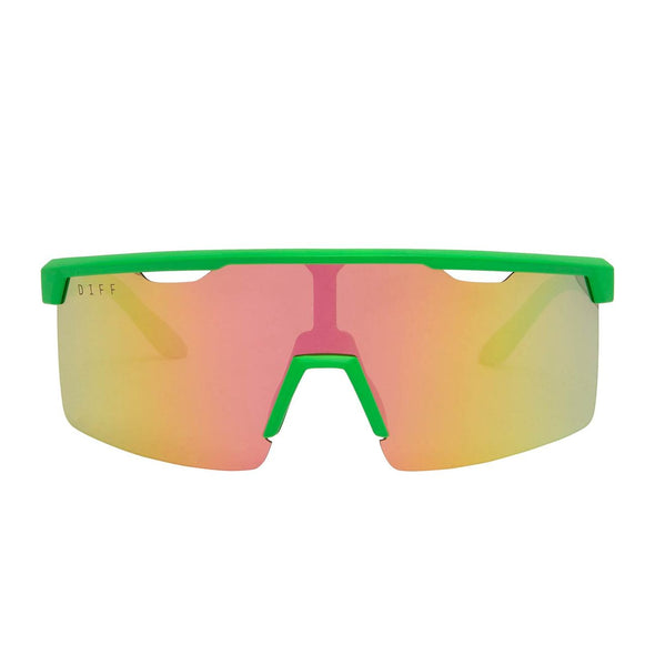 LUKA - NEON GREEN + PINK MIRROR POLARIZED LENS