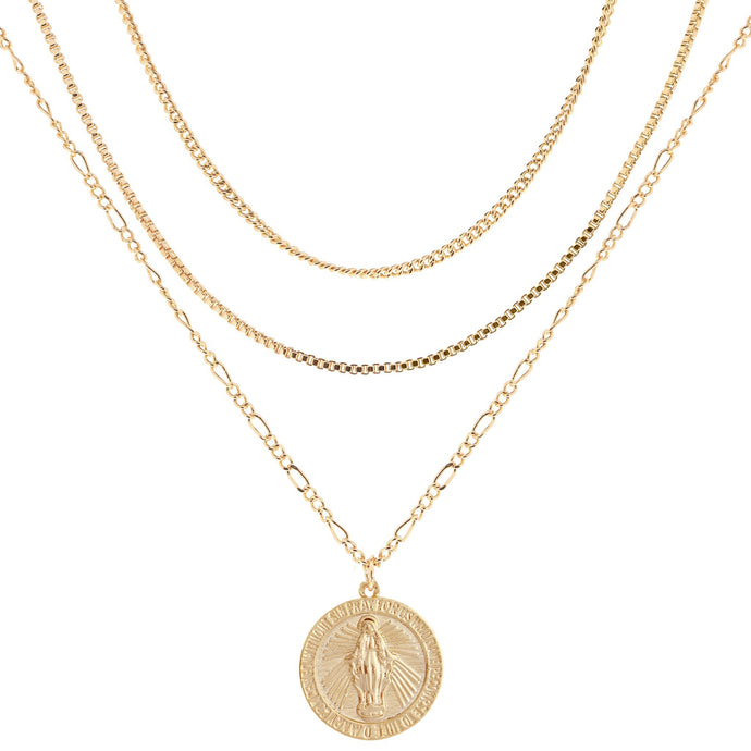 MS MEDALLION LAYERED NECKLACE GOLD