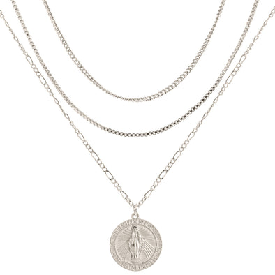 MS MEDALLION LAYERED NECKLACE SILVER