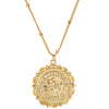 FLOWER SAINT CHRISTOPHER NECKLACE: GOLD