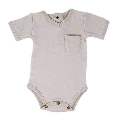 V-NECK BODYSUIT-LIGHT GRAY