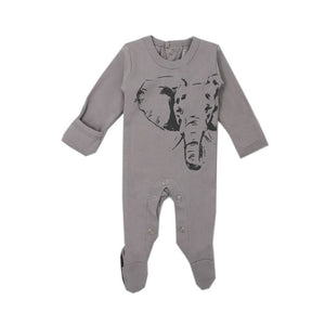 ORGANIC GRAPHIC FOOTIE, LIGHT GRAY ELEPHANT