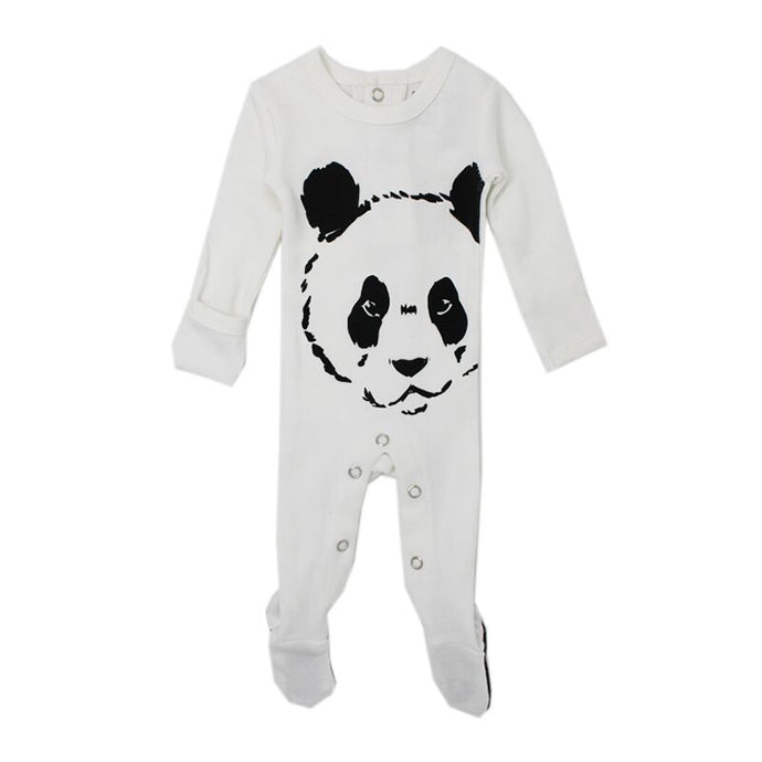 ORGANIC GRAPHIC FOOTIE, WHITE PANDA