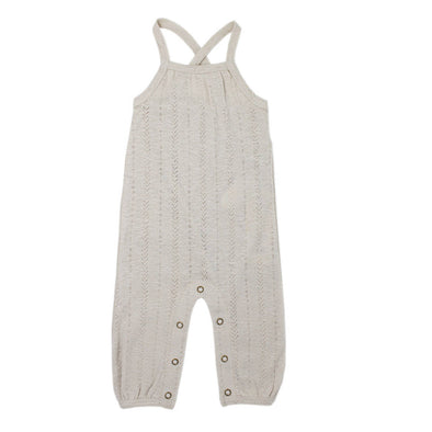 ORGANIC POINTELLE ROMPER IN STONE