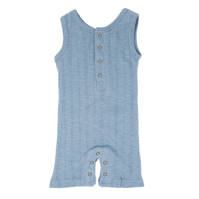 ORGANIC POINTELLE SLEEVELESS ROMPER IN POOL