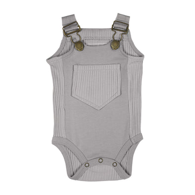RIBBED BODYSUIT-LIGHT GRAY